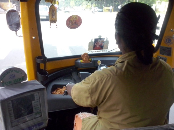 Lady and the Machine...My first ever lady auto-rickshaw driver